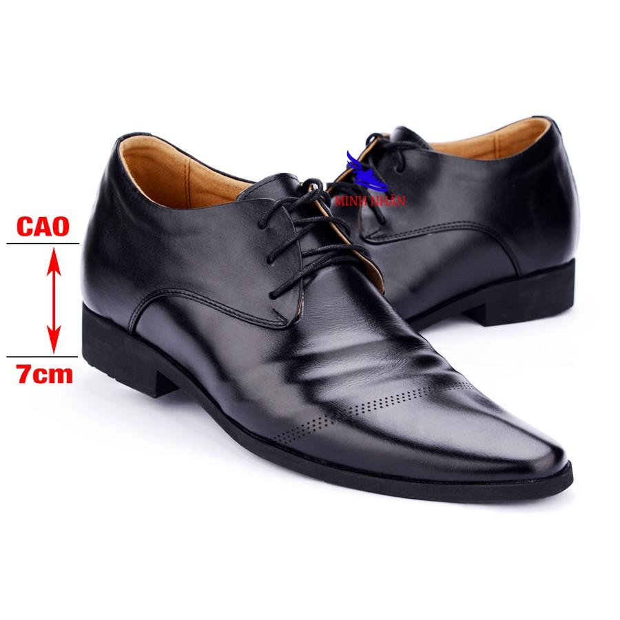 Giày Tây Nam Công sở Tăng Chiều Cao 7 cm Kín Đáo Bí Mật Từ Bên Trong Chất Liệu Da Bò Cao Cấp Phong Cách Lịch Lãm G-18