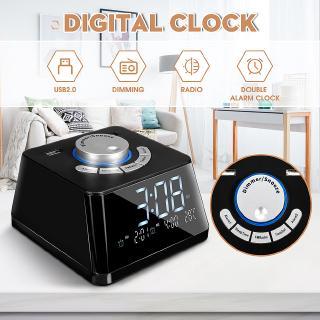 Đồng hồ báo thức LCD với màn hình hiển thị thời gian và nhiệt độ