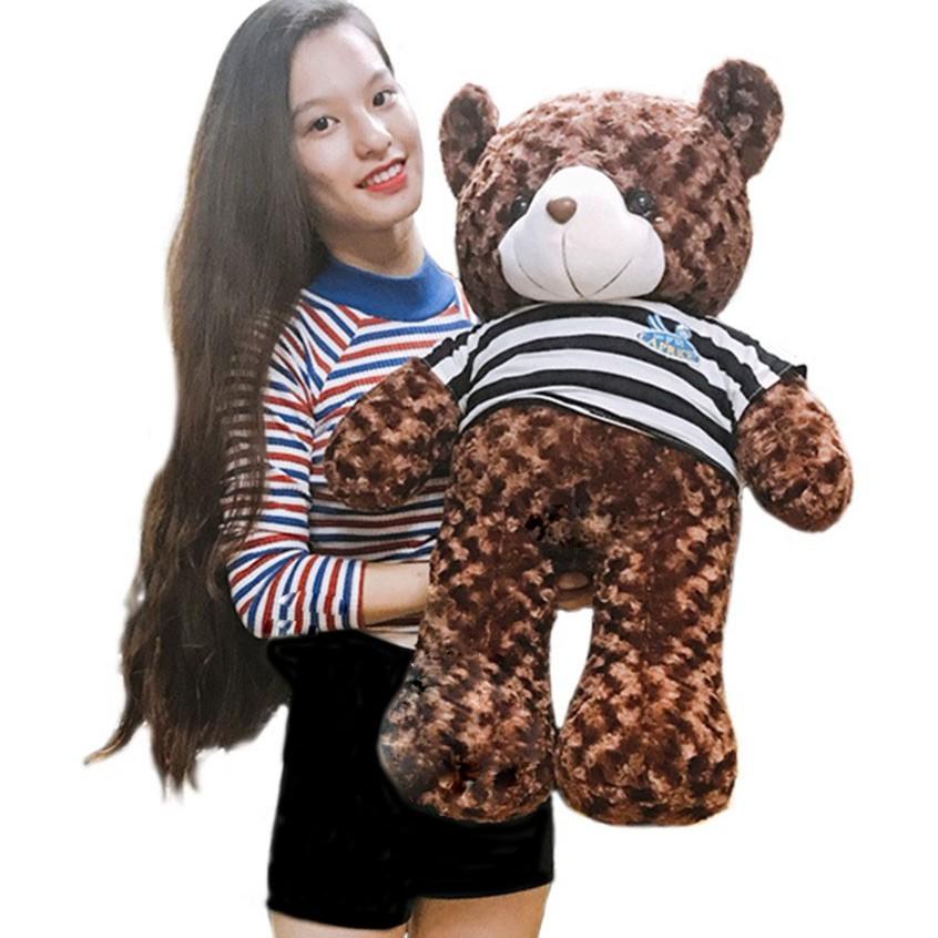 Gấu bông Teddy Cao Cấp khổ vải 80cm Cao 60cm màu Nâu hàng VNXK