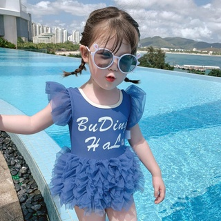 Bộ đồ bơi tam giác phối ren phong cách phương tây cho bé gái 2021