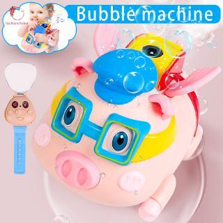 Children Automatic Electric Bubble Machine Bubble Pig Spray Watch Remote Control Music