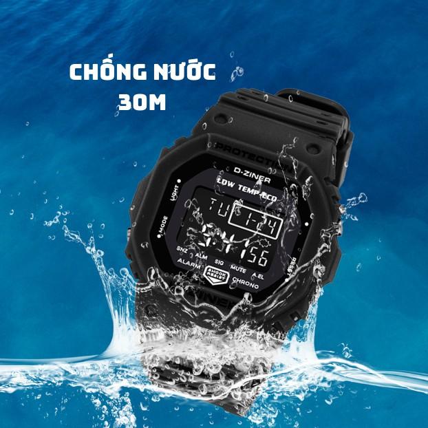 Đồng Hồ Điện Tử Unisex Thể Thao D-ZINER 8200 Chống Nước 30m Kèm Hộp Thiếc - LINDO