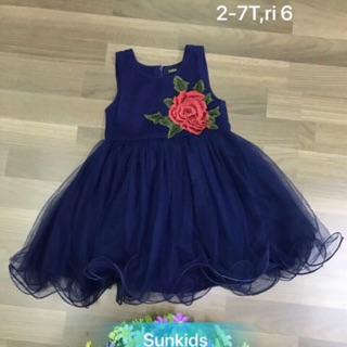 Combo1ri váy dạ thêu hoa bé gái và 1ri quần jean 1-5