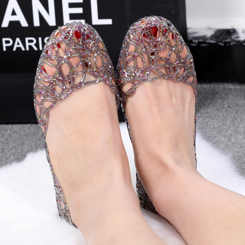 Phụ nữ Bling Sandals Bling-Hollow Summer Out Jelly