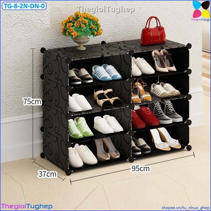 Tủ giầy 8 ô 2 cột 4 tầng bằng nhựa lắp ghép màu đen, trắng, hồng, vàng, xanh (không cánh cửa, để được 16 đôi)