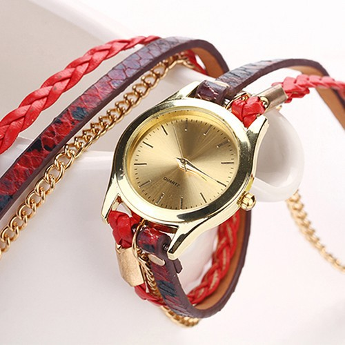 Đồng hồ dây giả da họa tiết da báo cho nữ