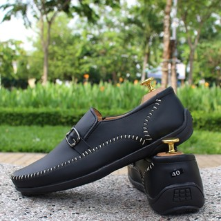 Giày Lười Nam Thời Trang Chỉ Trắng Đen thumbnail
