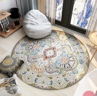 Thảm lót sàn hình tròn phong cách Vintage trang trí phòng khách/phòng ngủ