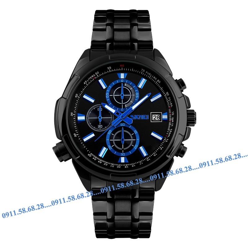 Đồng hồ nam dây thép đen cao cấp SKMEI 9107 mã SK9107D