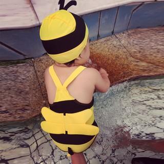 ĐỒ BƠI CHO BÉ, Bộ con ong vàng cho cả bé trai và bé gái kèm mũ