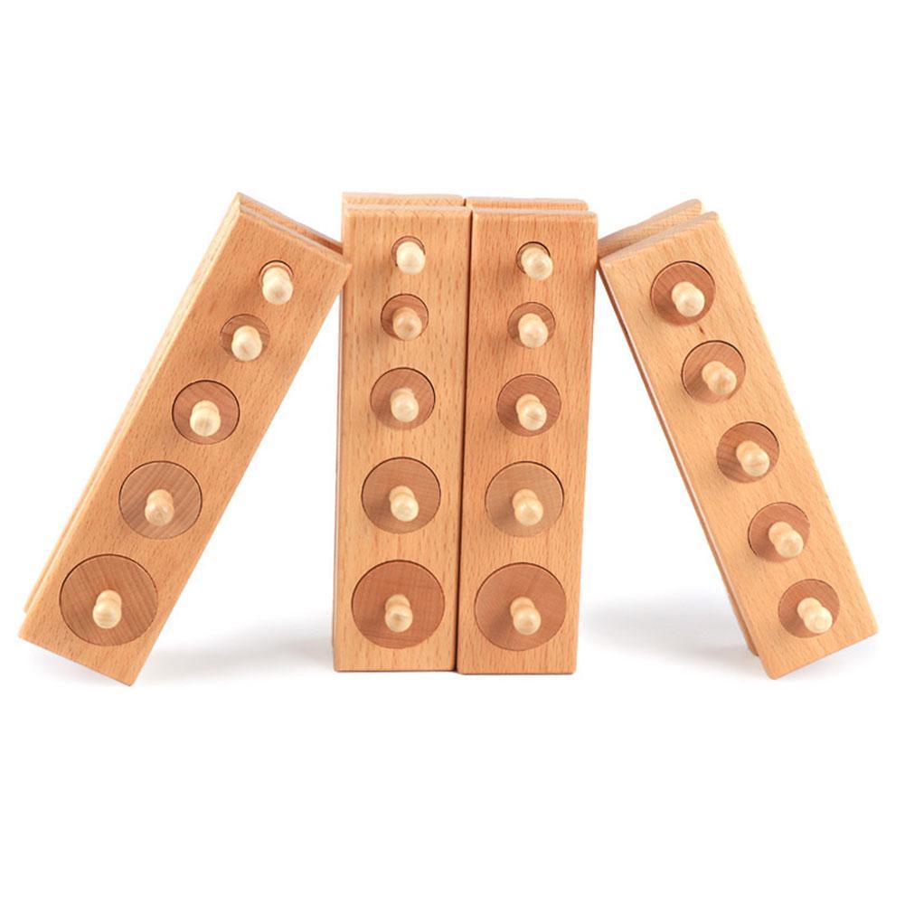 Educational Toy Set Fun Baby Blocks Senses Smooth Gift Preschool Children Development Lean Shape Wooden Cylinder Socket