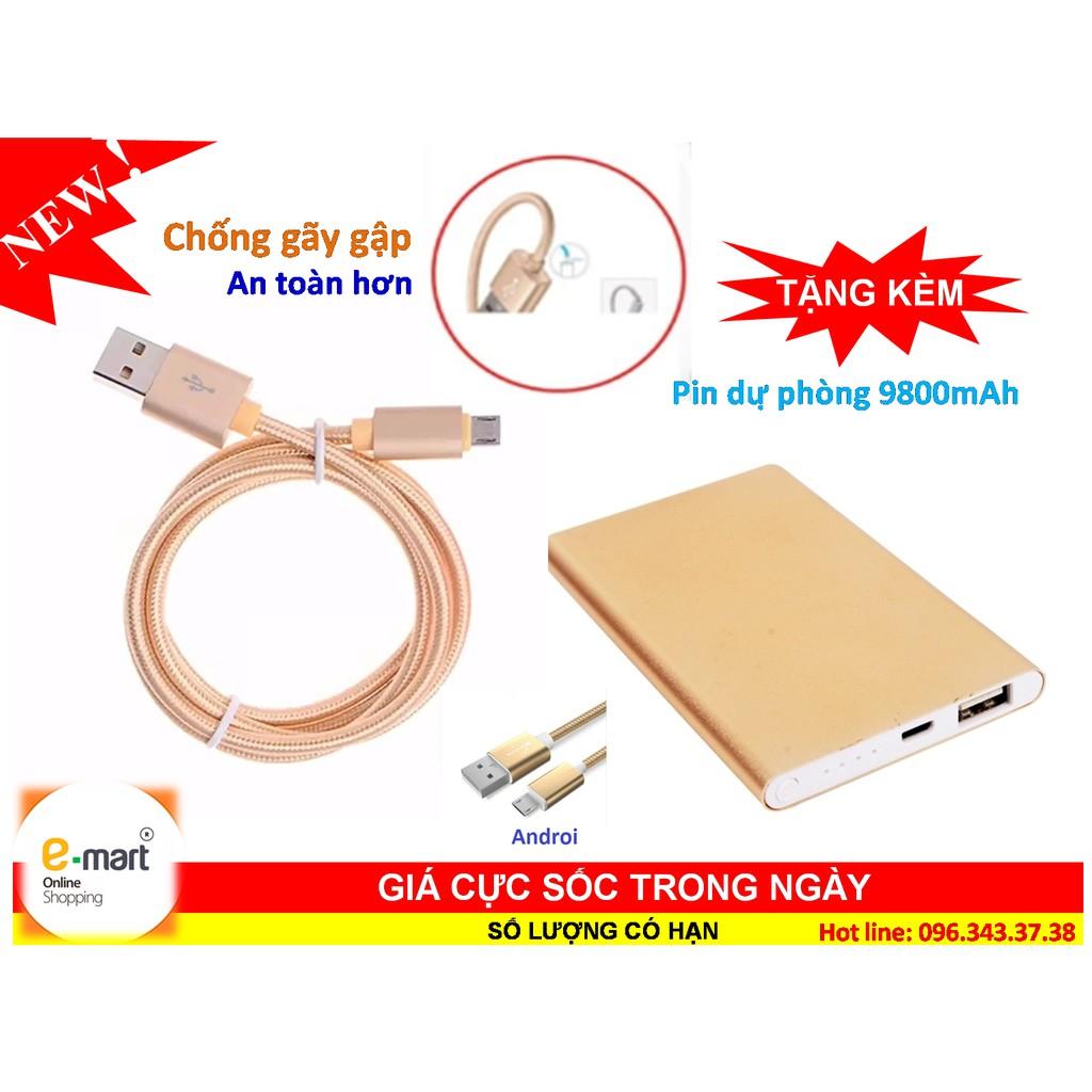 Cáp sạc điện thoại bọc dù samsung chống gãy gập, an toàn khi sử dụng + Tặng pin dự phòng 9800mah