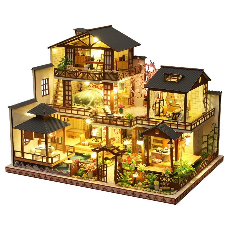 Mô hình gỗ nhà búp bê Biệt thự Nhật (mica+keo trong,keo sữa)