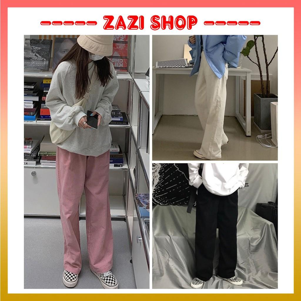 Quần nhung tăm  Quần ống rộng, quần ống rộng lưng cao  Quần ống rộng nữ, quần ống rộng nhung tăm - ZaZi QD01