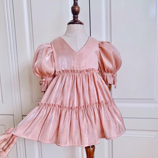 váy cho bé gái, váy tiểu thư vải bóng nhìn cực sang cho bé diện