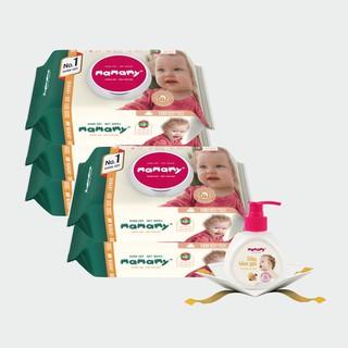 Combo 5 gói khăn ướt Mamamy 100 tờ gói không mùi, khán khuẩn, tặng 1 chai dầu tắm gội 200ml