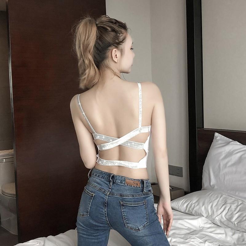 2019 ฤดูร้อนของผู้หญิงประดับด้วยเลื่อมเสื้อชั้นในสตรีนอกสวมใส่เซ็กซี่ข้ามขนาดใหญ่เปลือยเสื้อด้านบนสั้น