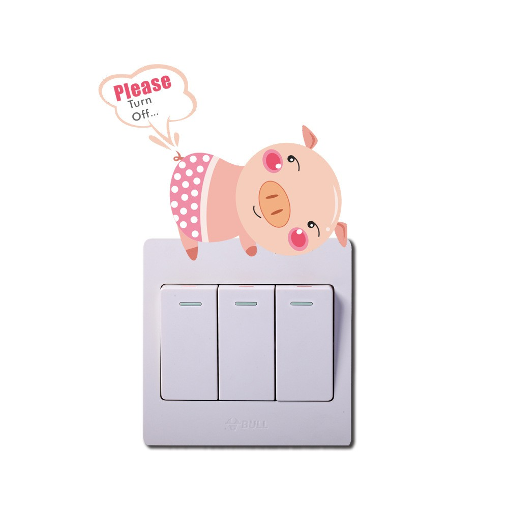 Cute Cartoon Animals Light Switch Funny Wall Decal Vinyl Stickers Home Decor