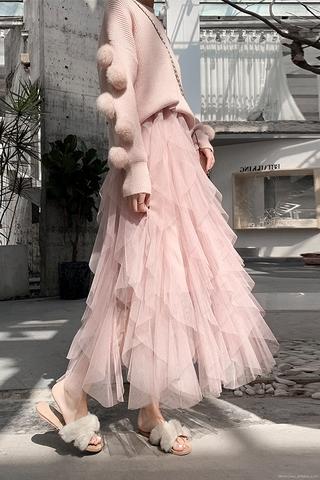 Váy nữ tiên phong cách Hàn Quốc mẫu mới siêu Cổ Tích mùa thu đông váy lưới siêu lửa váy tầng lớp bánh ngọt váy xếp li vá