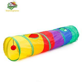 Pet Park Colorful Rainbow Foldable Pet Cat Single Tunnel Toys Hanging Ball Play Tube
