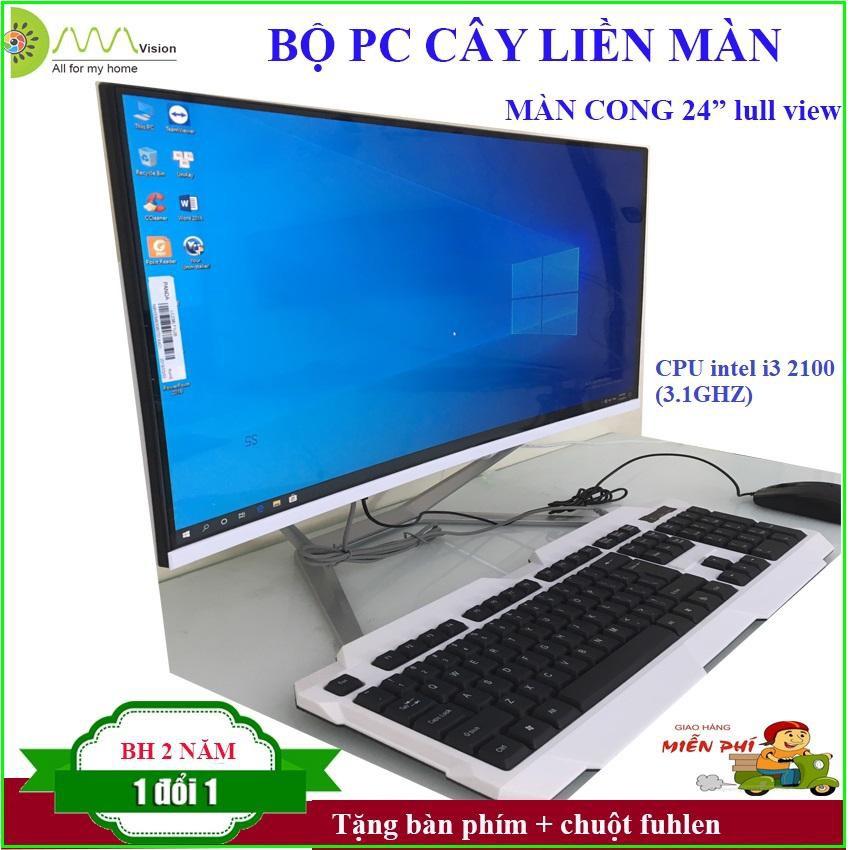 Màn hình cong 24 full view, CPU intel i3 2100 (3.1Ghz) , Ram DDR3 4G/1600, SSD 240G, Chipset H61 (wifi+ key mouse)