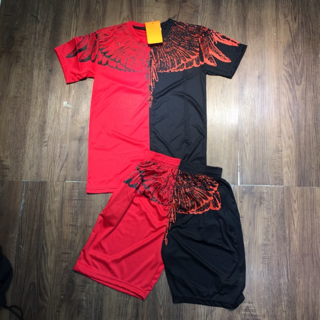 Đồ bộ nam bộ thể thao bộ hè cánh đỏ đen đen trắng - Bộ thể thao