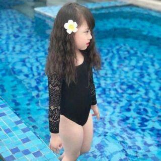 Áo bơi bé gái tay dài ren thun lạnh
