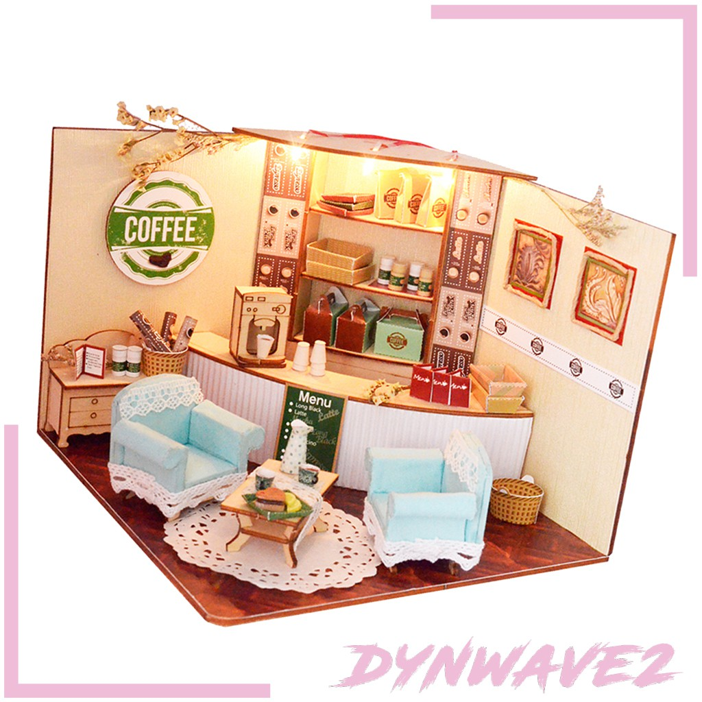 Mô Hình Cửa Hàng Cà Phê Bằng Gỗ 3d Lãng Mạn Trang Trí Nhà Búp Bê Diy Dynwave2 1: 24