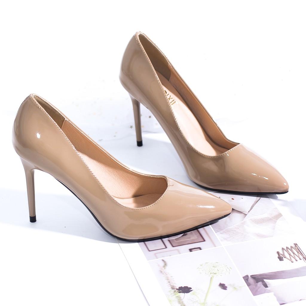 Giày Cao Gót 9cm Da Bóng Mũi Nhọn Basic Màu Nâu Pixie P746