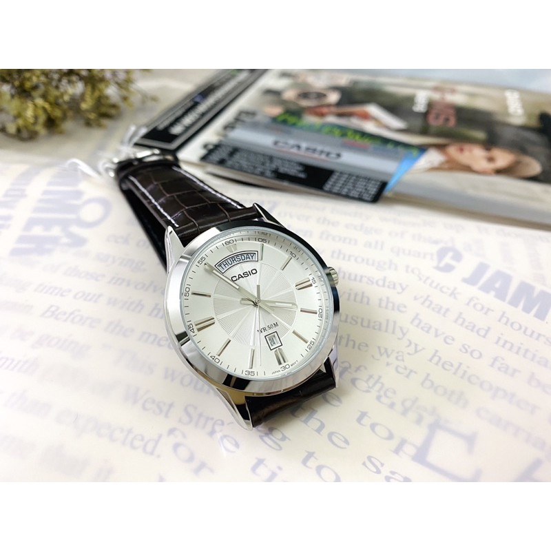 Đồng hồ nam dây da Casio chính hãng Anh Khuê MTP-1381L-7AVDF