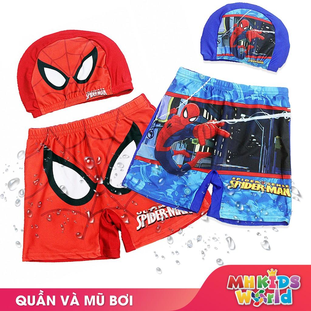 Quần kèm mũ bơi đồ bơi bé trai 2-9 tuổi hình người nhện và các nhân vật hoạt