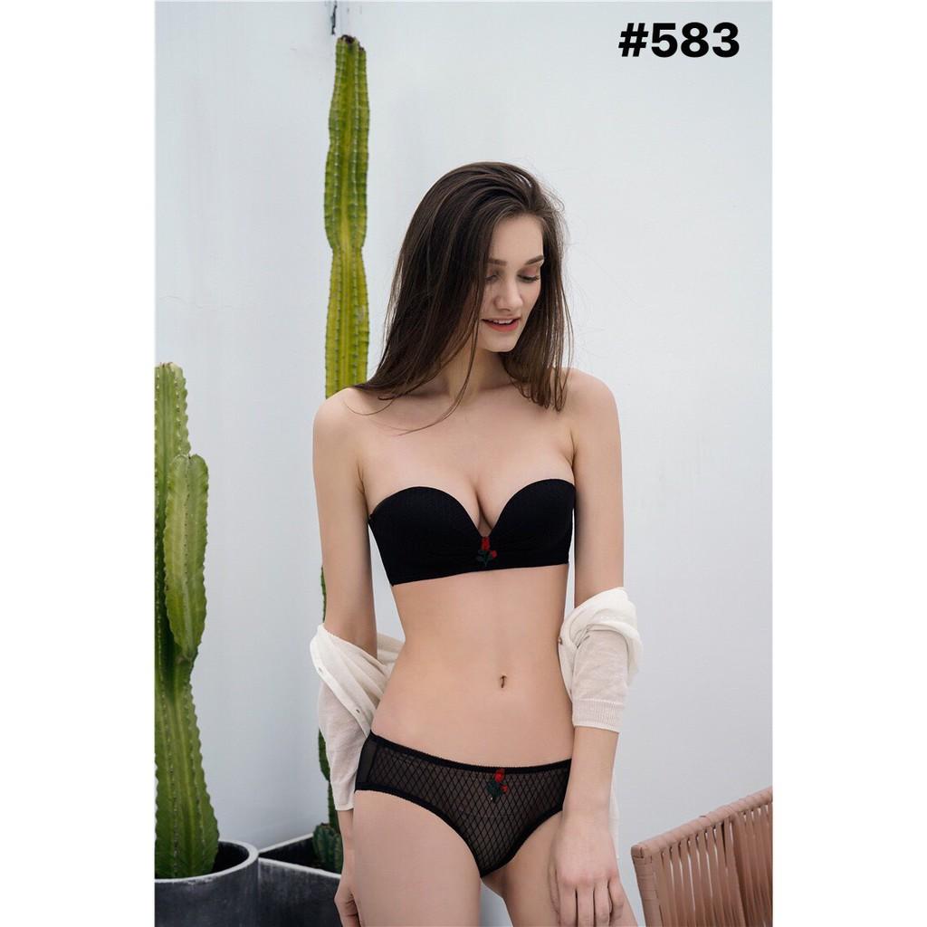 BỘ ĐỒ LÓT VIC KHÔNG GỌNG CÚP NGANG NÂNG NGỰC ROSE 583