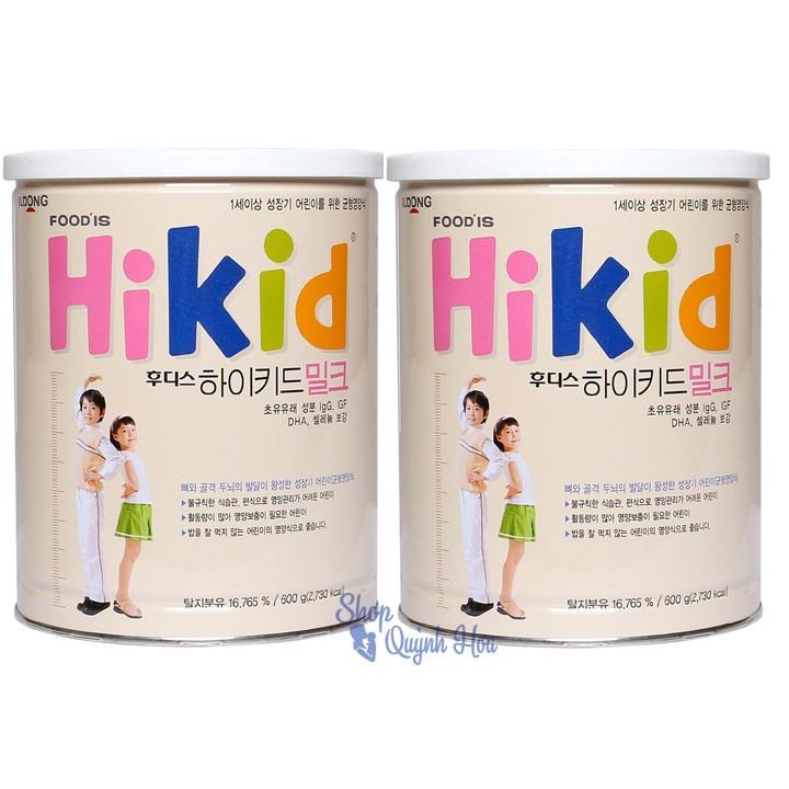 Combo 2 hộp sữa Hikid tăng chiều cao cho bé trên 1 tuổi vị Vani 600g (Hàng nhập