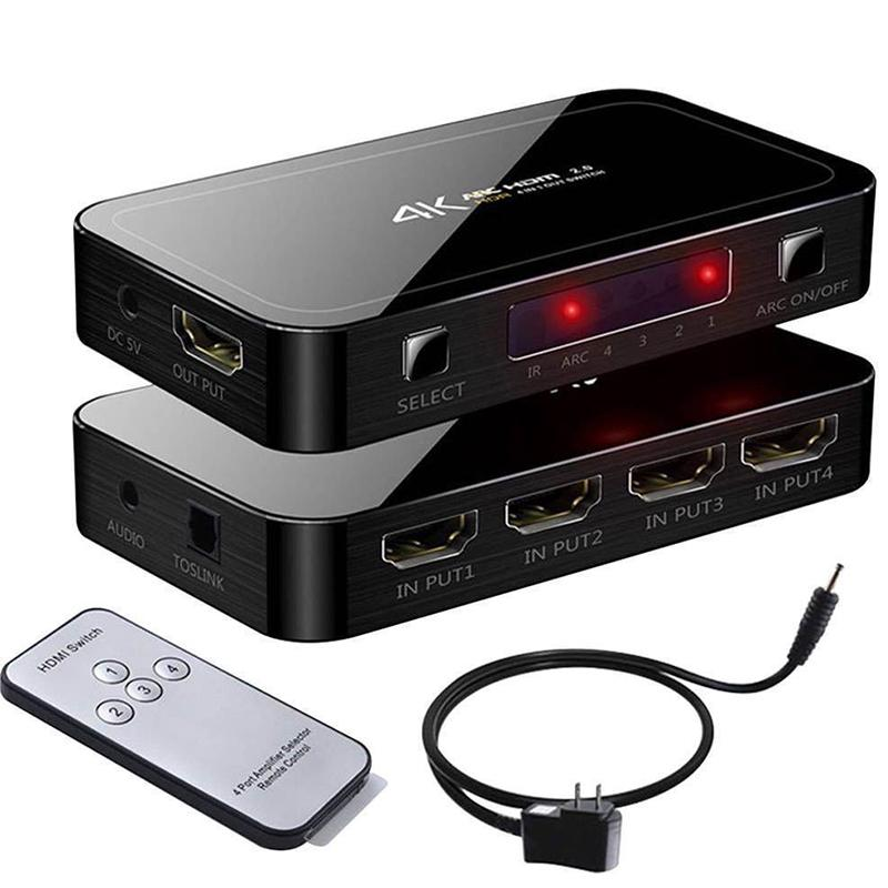 Switch Splitter 4-Port HDR HDMI 4×1 1080P 4K 60Hz HDMI 2.0 HDCP 2.2 UHD Switcher
