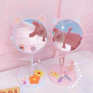 Gương tai mèo, tai gấu để bàn | Gương trang điểm| Gương trang trí