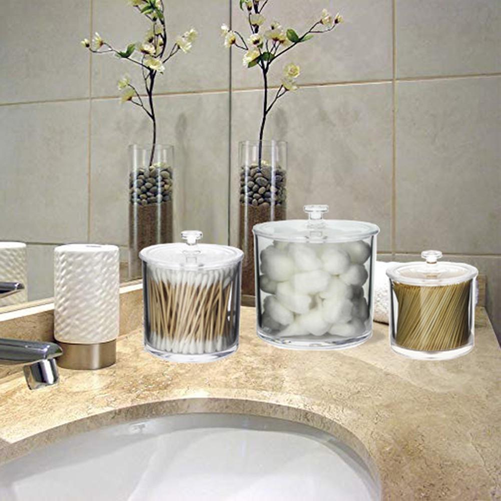 ↨COD↨3Pcs Transparent Acrylic Cotton Swab ToothpickBox Container