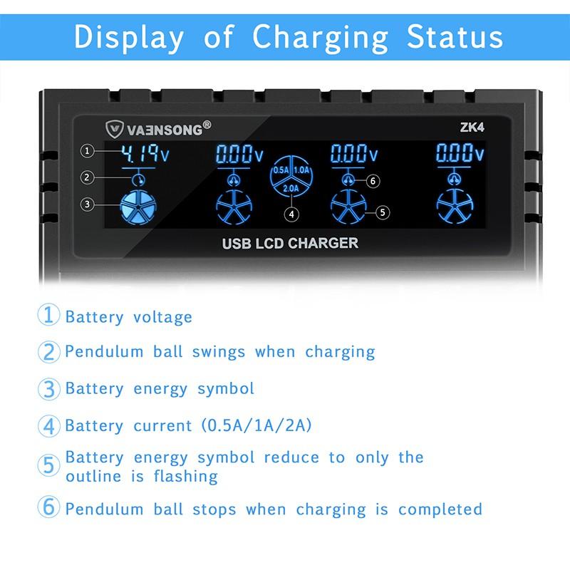 Bộ sạc pin nhanh ZK4 2A cho 18650 14500 đầu USB nhiều ngăn tự động ngắt khi sạc đầy tiện dụng
