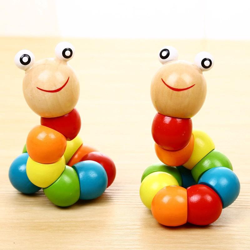 DIY Baby Kids Twist Caterpillar Wooden Toy Infant Educational Developmental Gift