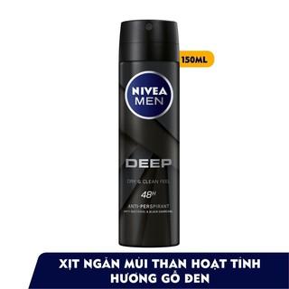 [ SIÊU THOÁNG ] Xịt ngăn mùi NIVEA MEN Deep than đen hoạt tính (150ml) – 80027