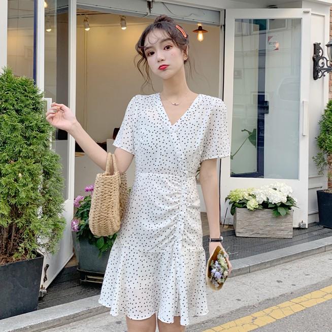 Đầm chiffon kiểu chữ A ngắn tay cổ V họa tiết chấm bi cho nữ phong cách Hàn Quốc