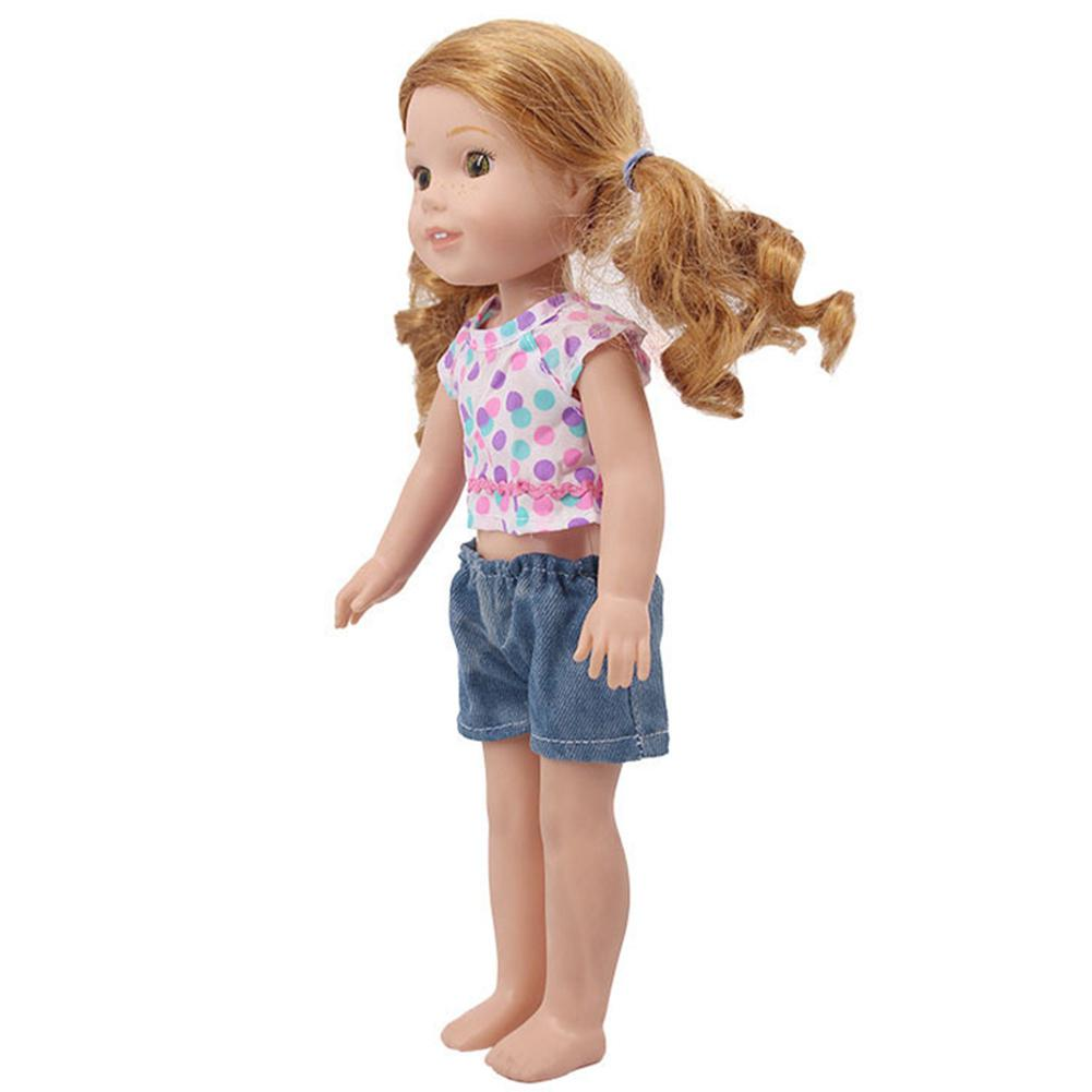 Havasshop 2 Piece Outfit Dolls Clothes T-shirt and Shorts Fits All 14.5-inch Dolls Gift for Little Girls