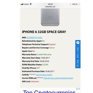 Điện thoại iphon 6lok hàng linew new còn bảo hành chính hãng