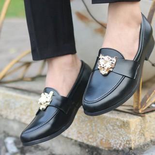 Giày lười giày mọi nam da lỳ kiểu dáng hàn quốc đai hổ báo ( Chất Store )