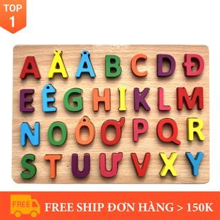 [Đồ chơi sáng tạo] [Nhập mã TOYBRAND7 giảm 70K]Đồ Chơi Bảng Chữ Cái Tiếng Việt Nổi In Hoa Bằng Gỗ Benrikids