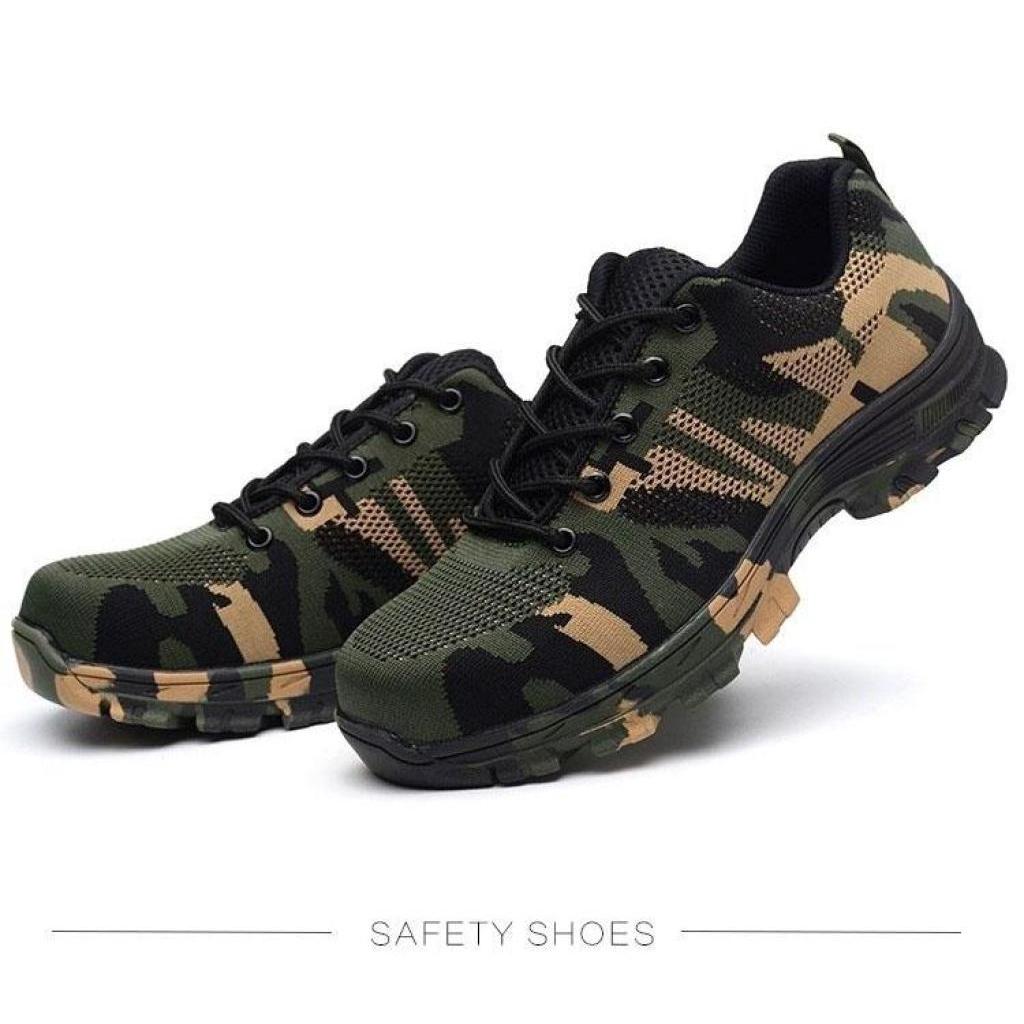 Fashion wild Safety shoes รองเท้าเซฟตี้ผ้าใบ ลายพรางทหาร หัวเหล็ก ระบายอากาศดี พื้นยางกันลื่น หัวเหล็ก พื้นเสริมแผ่นเหล็