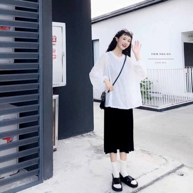 Set váy len maxi kèm áo len dài tay oversize