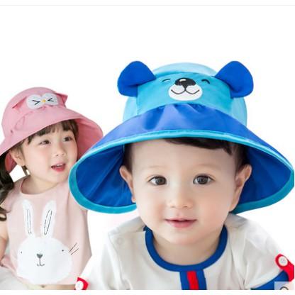 Mũ có vành cho bé tai gấu chất vải mềm có thể gấp mũ lại mang đy rất tiện lợi
