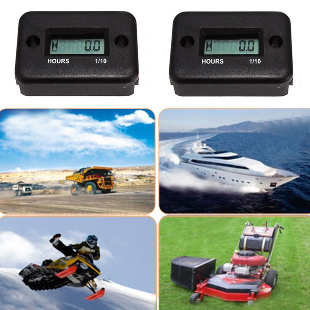 Accurate Waterproof LCD Hour Meter Digital Counter Portable Inductive ATV Motorcycle Boat Snowmobile