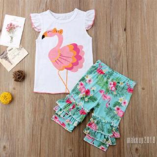 Mu♫-Toddler Kids Girls Flamingo Blouse Tops+Ruffle Floral Half Pant 2Pcs Outfits Set