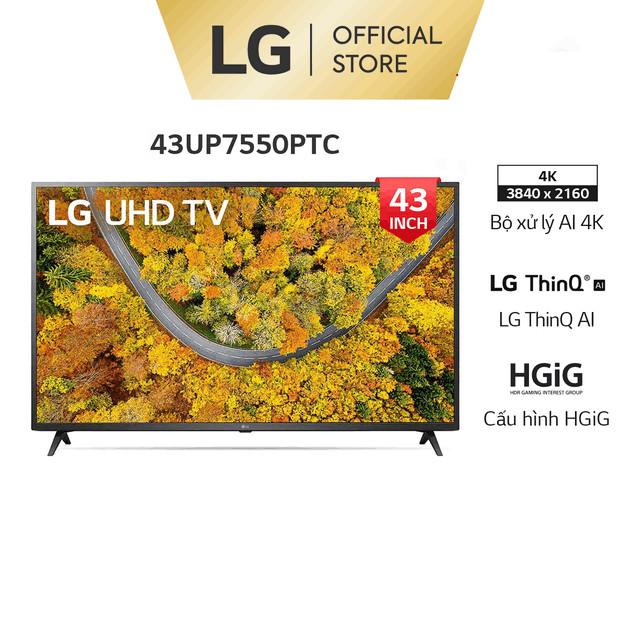 Smart UHD Tivi LG 43 inch 4K 43UP7550PTC – Model 2021 – Miễn phí lắp đặt
